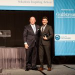 Ray Fitzgerald (L) of WWL with Orcelle® Award Winner Dan Singleton of Transient Plasma Systems