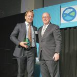 Anders Jansson of Minesto, accepts the 2014 Orcelle Award from Raymond Fitzgerald of WWL.